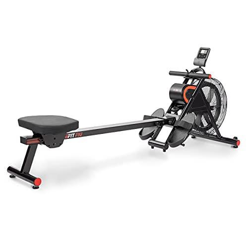 FITFIU Fitness RA-200 - Máquina de Remo con resistencia por aire, plegable, con ruedasy asiento acolchado, Remadora para entrenamiento cardio y cross training en casa, peso máx. usuario 110kg