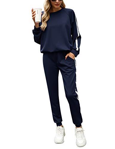 Irevial Conjunto Deporte Mujer, Chándal Mujer Completo 2 Piezas, Ropa Manga Larga de Casa Casual de Otoño Invierno, Conjunto Deportivo, Yoga, Fitness Mujer