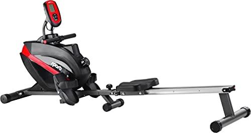 SportPlus SP-MR-008 - Máquina de Remo Fitness, Volante de Inercia de 8 kg, Sistema de Freno Magnético, 8 Niveles de Resistencia, Compatible con Correa de Pecho, Peso del Usuario hasta 150 kg