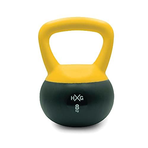JOWY Pesa Rusa o Pesa Kettlebell 8kg, PVC rellena de Fina Arena de Acero, Ideal para Ejercicios y Entrenamientos de musculación o Crosstraining. Tu casa es tu Gimnasio.