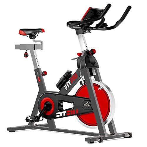 FITFIU BESP-22 - Bicicleta Indoor con disco inercia 24kg y resistencia regulable, manillar con pulsómetro, botella y pedales con calapiés, Bici Entrenamiento Fitness en casa, peso máx. 120kg
