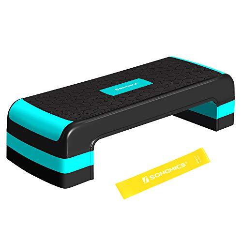 SONGMICS Plataforma step con banda de resistencia, 78 x 31 cm, Step fitness aeróbic, Altura ajustable (10/15/20 cm), Tabla de ejercicio, para fitness en casa y en oficina, Negro y Azul STE784Q01