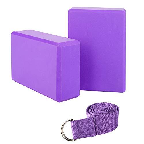 JIM'S STORE Bloque de Espuma Correa,Bloque de Yoga Ejercico EVA de Alta Densidad para Mejorar Fuerza y Flexibilidad Yoga Pilates Amantes(Morado)