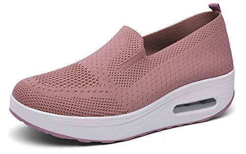 Zapatos Deporte Mujer Zapatillas Deportivas Casual para Mujer Running Caminar Fitness Atlético Transpirable Ligero Sneakers, Rosa, 38 EU