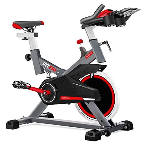 FITFIU BESP-100 - Bicicleta Indoor con disco inercia 16kg, resistencia regulable, sillín y manillar regulables, pulsómetro, soporte botellas, Bicicleta fitness con pedales con calapiés y pantalla LCD