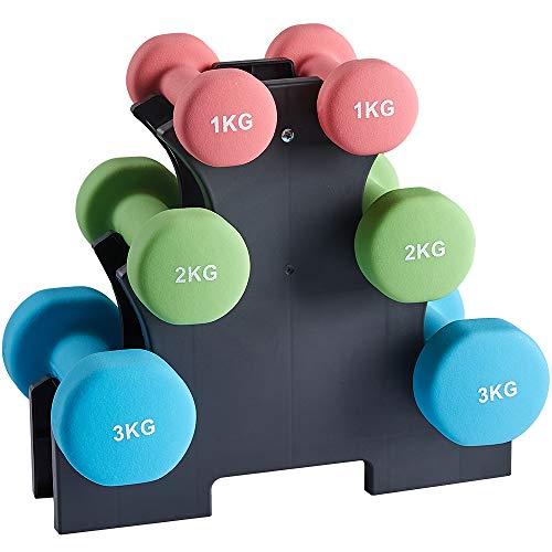 Albott Pesas Mancuernas de Neopreno Pesas Gimnasio en Casa, Juego Mancuernas con Soporte - 2 x 1 kg, 2 x 2 kg, 2 x 3 kg, Mancuernas para Gimnasio y Entrenamiento