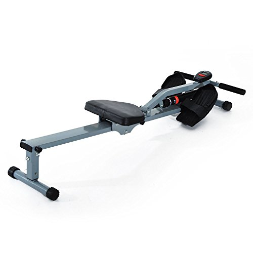 HOMCOM Máquina de Remo Ajustable con Pantalla LCD para Fitness y Ejercicios de Musculación o Resistencia para Gimnasio Casa Carga 100KG