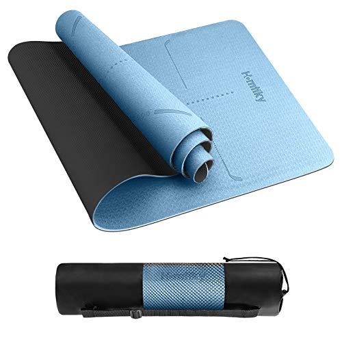 Homtiky Esterilla Deporte, Esterilla Yoga Antideslizante con Material ecológico TPE, Yoga Mat 6MM Azul Grisáceo Diseñado para Entrenamiento Físico con Correa de Transporte y Bolsa