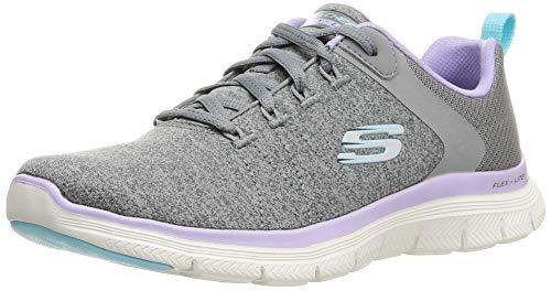 Skechers Flex Appeal 4.0 Brilliant View, Zapatillas Mujer, Gris (Gray/Lavender), 37 EU