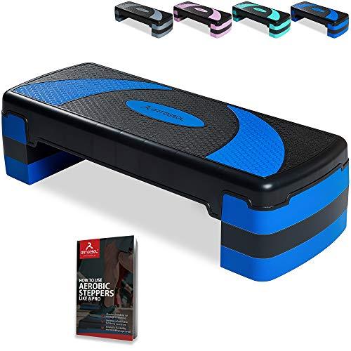 arteesol Step Fitness Cardio en Casa, Plataforma Steps Stepper Fitness Aerobic de Altura Ajustable(10/15/20 cm), Cardio para Ejercicios Gimnasia en Hogar/Gimnasio/Oficina, Carga Máx 250kg(78x30cm)