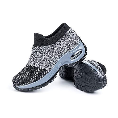 Zapatillas Deportivas de Mujer Zapatos Running Fitness Gym Outdoor Sneaker Casual Mesh Transpirable Comodas Calzado Gris Talla 37