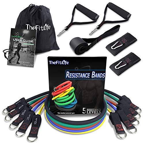 TheFitLife Bandas Elasticas Fitness Musculacion - Tubos de Entrenamiento para Deportes Interiores o Exteriores, Fitness,Fuerza y Velocidad, Gimnasio en casa o Yoga