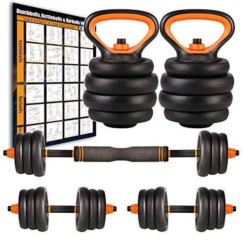 Amazon Brand – Umi Juego de Mancuernas Kettlebell y Barra de musculación con Discos 25 kg Cada Unidad