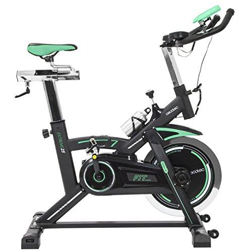 Cecotec Bicicleta Spinning Estática con Volante de Inercia de 25 Kg Extreme 25. Sistema Silence Fit, Pulsómetro, Manillar y Sillín Regulable, Pantalla LCD, Ruedas, Peso máximo 120 Kg