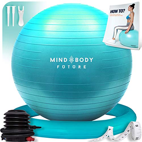 Mind Body Future Pelota Suiza o Gym Ball Bola para Pilates, Yoga, Fitness, Embarazo y Sentarse. Balón Robusto, Antideslizante y Hipoalergénico. Fitball 65 cm con Base y Bomba. Turquesa